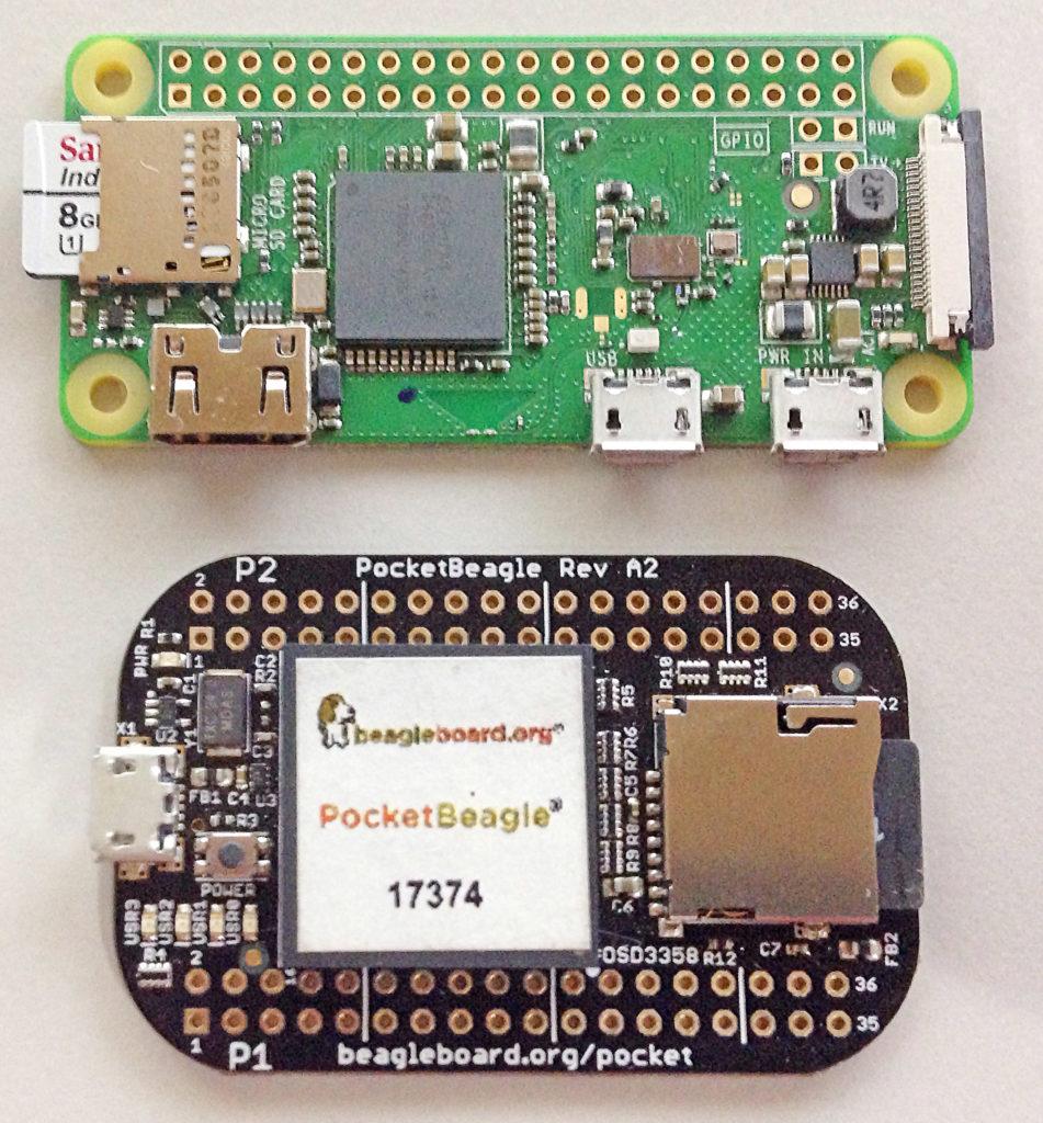 Raspberry Pi Zero vs. PocketBeagle Side by Side